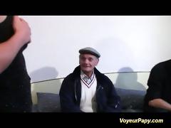 voyeur papy fucks nymph in trio