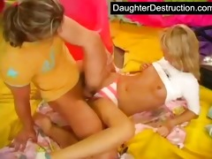 youthful teen daughter abase