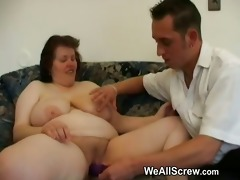 younger lad dildos old womans butt and bonks her