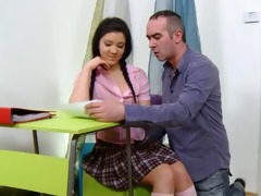 legal age teenager vika is in the school room