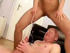 grandpapa fucking and peeing on youthful cutie