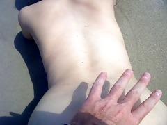 doggie fuck yg ally in surf on beach