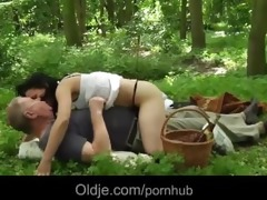 oldman has sex picnic with youthful teenie in the