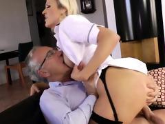 blond euro sweetheart copulates old mans jock