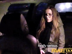 faketaxi gal with glasses copulates for rent money