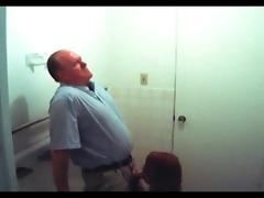 fake spy redhead gives old dude head in washroom