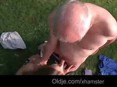 older man cleans alexiss hairless youthful wet