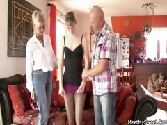 she is has a threesome with his old parents