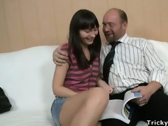 excited wench rebecca rides inflexible rod.