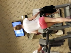 hawt blond beauty on threadmill running with strap