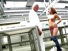 youthful a-hole redhead receives naked in front