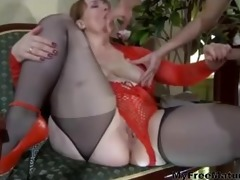a great magic russian granny with fortunate guy 8
