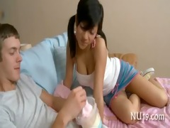 cute angel girl rides pounder