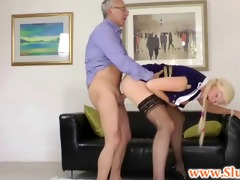 youthful brit babe pussydrilled by old stud
