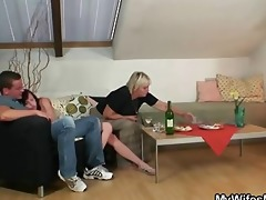 his wife comes in and sees him fucking her old