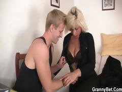 blond old honeys pleases an youthful lad