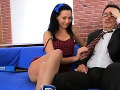 tricky teacher seducing gracious student