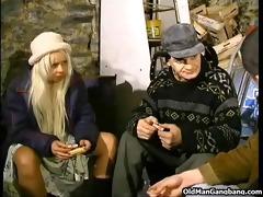 homeless golden-haired double-fucked