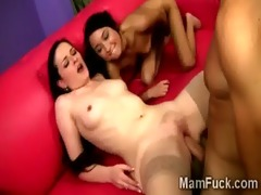 mother and daughter share a hefty shaft in this
