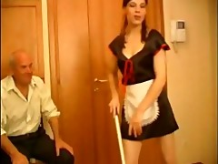 seductive dark brown maid gets rammed by old fart