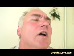 granddad is drilled by sexy nurse