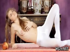 beauty plays with dildo