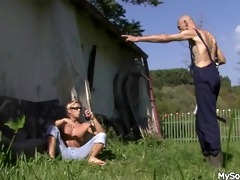 old chap pleases his sons cheating gf outdoors