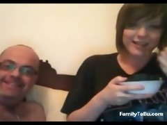 father and daughter on livecam