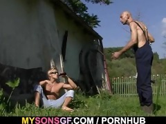old daddy toying his sons gf fur pie