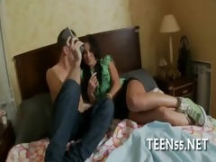 gorgeous legal age teenager rides biggest dick