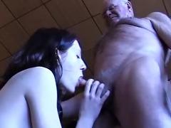 grandad gets a oral stimulation