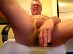 perverted oldman solo schlong and arse pleasure