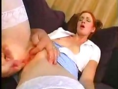 youthful redhead angel fucked by mature fellow
