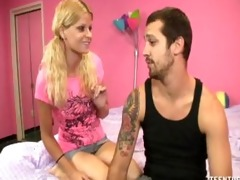 blond stepsister gives her stepbrother a worthy